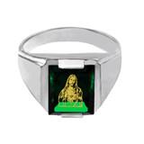 Solid White Gold Green CZ Stone Sacred Heart Jesus Signet Men's Ring