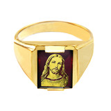 Solid Yellow Gold Red CZ Stone Jesus Christ Signet Men's Ring