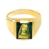 Solid Yellow Gold Green CZ Stone Jesus Christ Signet Men's Ring