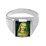 Sterling Silver Green CZ Stone Jesus Christ Signet Men's Ring