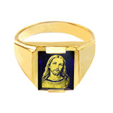 Solid Yellow Gold Blue CZ Stone Jesus Christ Signet Men's Ring