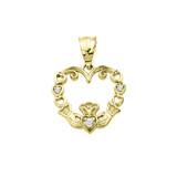 Yellow Gold Diamond Claddagh Open Heart Pendant Necklace