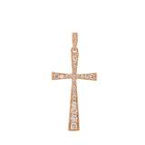 Precious Rose Gold Diamond Cross Pendant Necklace