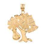 Solid Yellow Gold Hip Hop Money Tree Money Bag Pendant Necklace