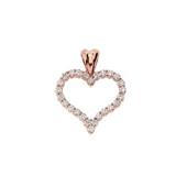 "14K Rose Gold Cubic Zirconia Open Heart Pendant Necklace (0.8"")"