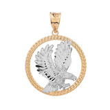 Solid Two Tone Yellow Gold Rope Frame Diamond Cut American Eagle Circle Pendant Necklace