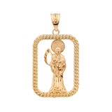Solid Yellow Gold Rope Frame Diamond Cut Santa Muerte Rectangle Pendant Necklace