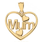 Solid Yellow Gold Mum Hearts Pendant Necklace