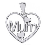 Solid White Gold Mum Hearts Pendant Necklace