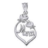 Solid White Gold Rose Buds Mum Pendant Necklace