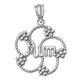 Solid White Gold Dotted Texture Swirl Flower Petals Mum Pendant Necklace
