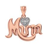 Solid Rose Gold  Rhodium  Heart Diamond Cursive Mum Pendant Necklace