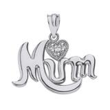 Sterling Silver Heart CZ  Cursive Mum Pendant Necklace