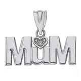 Sterling Silver Heart CZ Mum Pendant Necklace