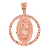 Solid Rose Gold Cuban Link Circle Frame Diamond Cut Lady of Guadalupe Pendant Necklace