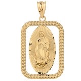 Solid Yellow Gold Cuban Link Rectangular Frame Diamond Cut Lady of Guadalupe Pendant Necklace