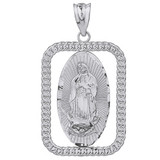 Sterling Silver Cuban Link Rectangular Frame Diamond Cut Lady of Guadalupe Pendant Necklace