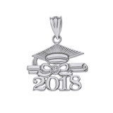 Solid White Gold Diamond  Class of 2018 Cap and Diploma Pendant Necklace