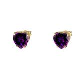 10K Yellow Gold Heart February Birthstone Amethyst (LCAM) Earrings