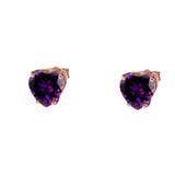 10K Rose Gold Heart February Birthstone Amethyst (LCAM) Earrings