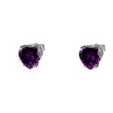 10K White Gold Heart February Birthstone Amethyst (LCAM) Earrings