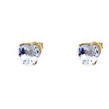 10K Yellow Gold Heart March Birthstone Aquamarine (LCAQ) Earrings