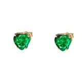 10K Yellow Gold Heart May Birthstone Emerald  (LCE) Earrings