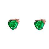 10K Rose Gold Heart May Birthstone Emerald  (LCE) Earrings