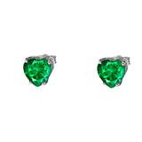10K White Gold Heart May Birthstone Emerald  (LCE) Earrings