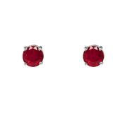 10K White Gold July Birthstone Ruby (LCR)Earrings