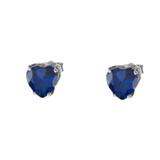 10K White Gold Heart September Birthstone Sapphire (LCS) Earrings
