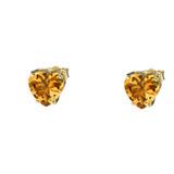 10K Yellow Gold Heart November Birthstone Citrine (LCC) Earrings