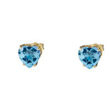 10K Yellow Gold Heart December Birthstone Blue Topaz (LCBT) Earrings