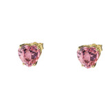 10K Yellow Gold Heart October Birthstone Pink Cubic Zirconia  (LCPZ) Earrings