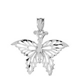 Sterling Silver Filigree Diamond Cut Butterfly Pendant Necklace