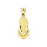 Yellow Gold Textured Flip Flop Pendant Necklace
