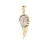 Elegant Yellow Gold  Diamond Angel Wing  Pendant Necklace