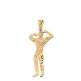 Weightlifting Fitness Sport Male Bodybuilder Pendant Necklace in Solid Gold (Yellow/Rose/White)