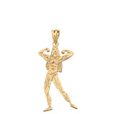 Weightlifting Fitness Sport Female Bodybuilder Pendant Necklace in Solid Gold (Yellow/Rose/White)