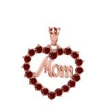 "Rose  Gold ""Mom"" Garnet (LCG) Open Heart Pendant Necklace"