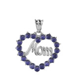 """White  Gold """"Mom"""" Amethyst (LCAM) Open Heart Pendant Necklace"""