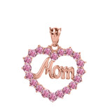 """Rose  Gold """"Mom"""" Pink (LCP) in Open Heart Pendant Necklace"""