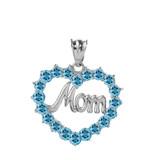 "Sterling Silver  ""Mom"" Blue Topaz  (LCBT) in Open Heart Pendant Necklace"