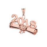 Rose  Gold Diamond Class of 2018 Graduation Diploma Pendant Necklace