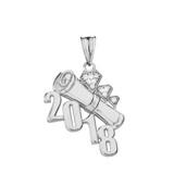 Sterling Silver CZ Diagonal Class of 2018 Graduation Diploma Pendant Necklace