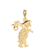 Diamond Cut Traveling Turtle and Bindle Pendant Necklace in Solid Gold (Yellow/Rose/White)