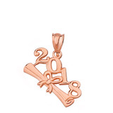 Solid Rose Gold Class of 2018  Diploma Pendant Necklace