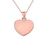 Solid Rose Gold Simple Heart Pendant Necklace Set