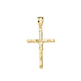 Solid Yellow Gold Crucifix Cross Pendant Necklace