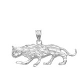 Sterling Silver Cut Cheetah Pendant Necklace